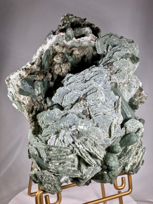 Green Quartz Clusters with Calcite Psuedomorph Rosettes from Huanggangliang Mine, Inner Mongolia, China.