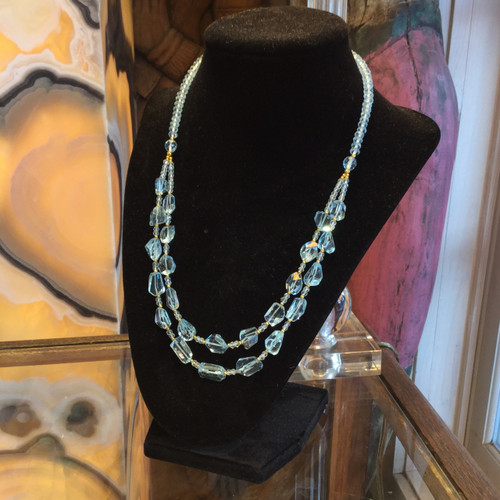 SOLD -  Aquamarine Necklace with Gold Plated Beads and Clasp 44 grams