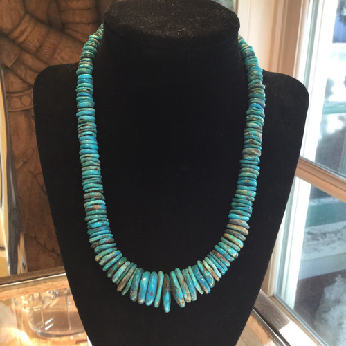 These natural Sleeping Beauty, Arizona turquoise beads are unusual in shape and size.   The mine is now closed, so this material is becoming very rare.  These beads are a bright, vivid turquoise color with a slight teal hue.