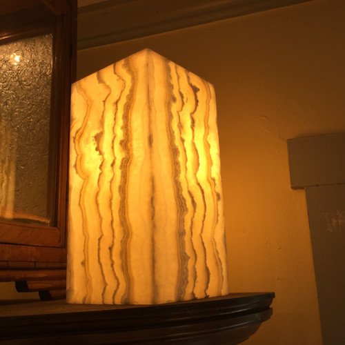 SOLD - Onyx lamp Yellow Lace #4