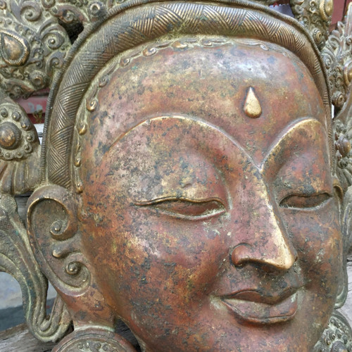 SOLD-Tara Mask Nepal Solid Copper 2600 grams