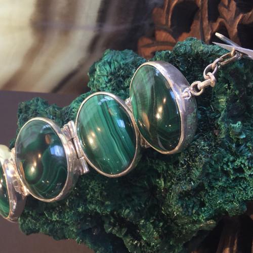 SOLD - Sterling Silver Malachite Bracelet