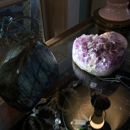 Heart shaped Druzy Quartz Crystals on Amethyst Points, Uruguay