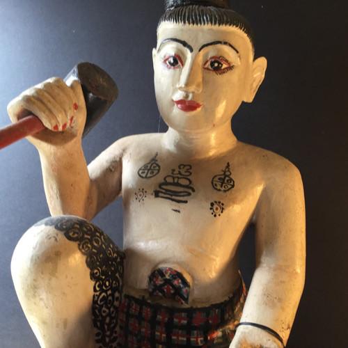 Burmese Nat, Soild Teak Carving, Circa Mid 20th Century
