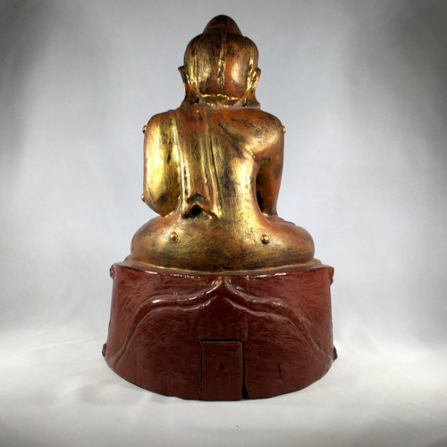 Nine Point Burmese Buddha, Lacquered with Gold Leaf,  Early 20th Century