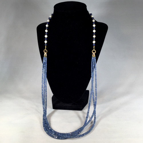 Natural Blue Sapphire with Pearls, Gold Plated Beads and Clasp