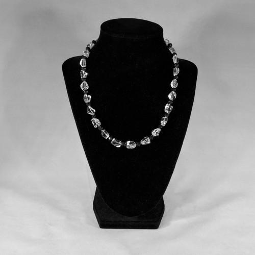 Crystal Clear Quartz with Black Onyx and Garnets 33 grams