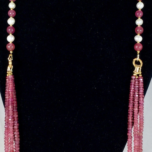 Natural Burmese Rubies with Freshwater Pearls, Gold Plated Beads and Clasp.  74 gram, 371 ct as shown.