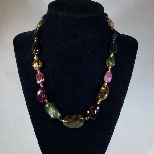 Tumbled Tourmaline Necklace, 67 grams, 333ct, Mabuhay Design
