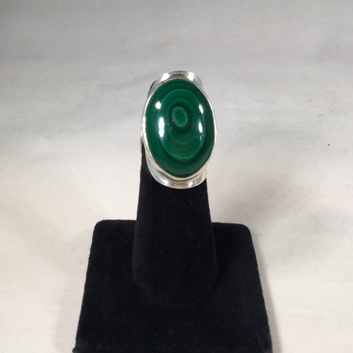 Green Malachite Sterling Silver Ring (expandable size)#1