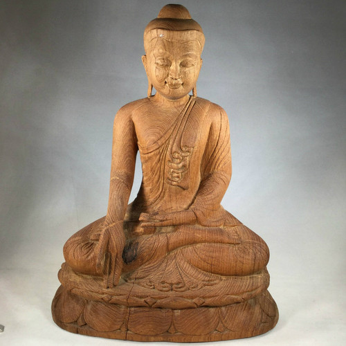 SOLD - Masterfully Carved in Burma, A Solid Teak Buddha