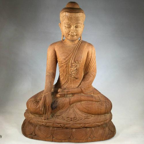 Masterfully Carved in Burma, A Solid Teak Buddha