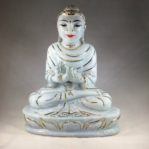 Marble Buddha with Real Painted Gold Highlights