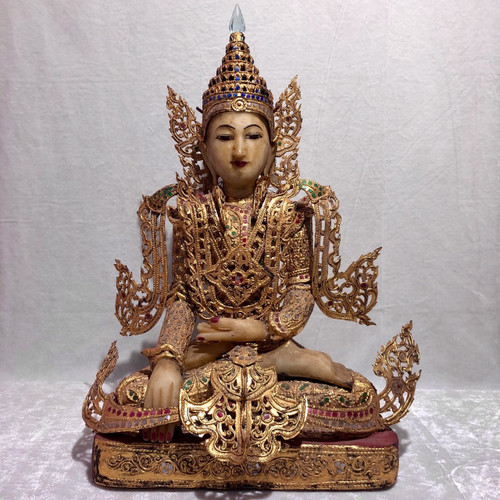 Pyinsa-Loha means five pieces connected with each other, Lacquered Wood, Ornamental  Glass with Alabaster hands and head