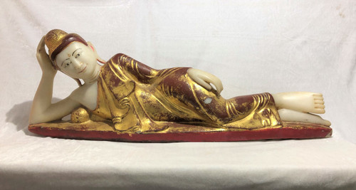 Amarapura Era (1789-1853)Alabaster Reclining Buddha Statue ( Almost 3ft Long)