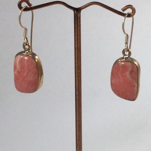 Rhodochrosite Silver Drop Earrings 9 grams