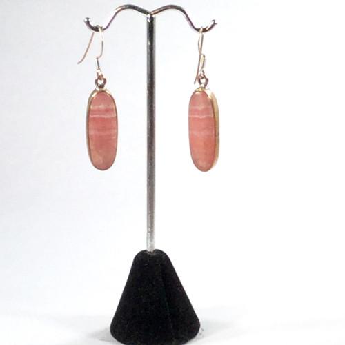 Rhodochrosite Silver Drop Earrings 8.5 grams