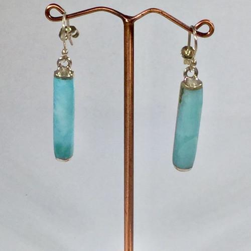 Larimar Drop Earrings in Sterling Silver 9.6 gramsi