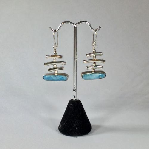SOLD - Larimar Drop Earrings in Sterling Silver 9.4 grams