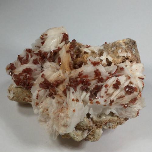 Vanadinite Crystals on White Barite , Near Mibladen,Khenifra, Morocco 100 grams