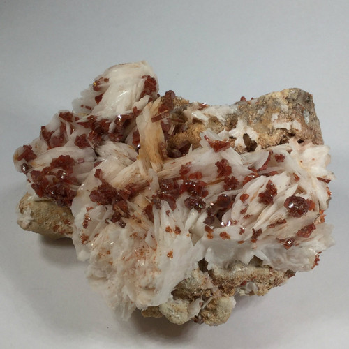 Vanadinite Crystals on White Barite , Near Mibladen,Khenifra, Morocco 100 grams