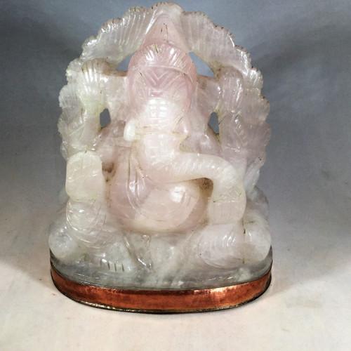 SOLD-Himalayan Rose Quartz Ganesha Hand Hammered Copper Base