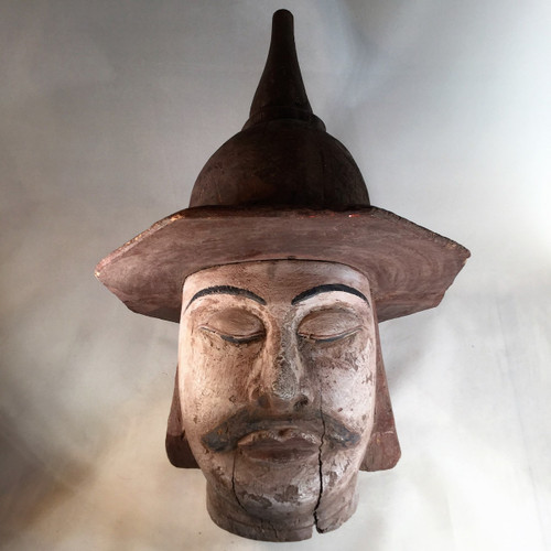 Burmese Puppet Head of Soldier Carved from Teak