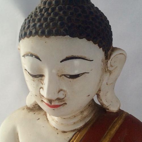 Circa 19th Century Burmese Alabaster Mandalay Style Buddha