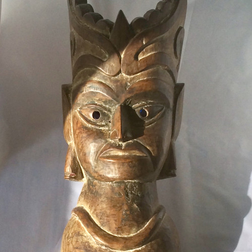 Early 20th Century Solid Wood Hand-Carved Mask from Nepal