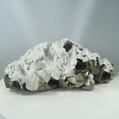 Cubic Pyrite in Manganoan Calcite - Peru