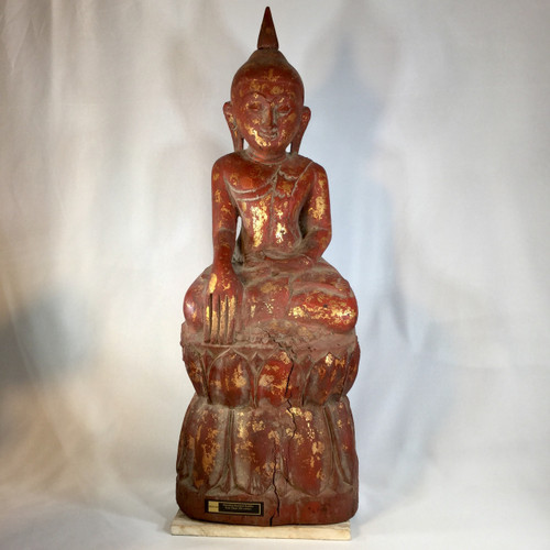 Mandalay Style Buddha, Soild Teak Wood, Circa Early 20th Century
