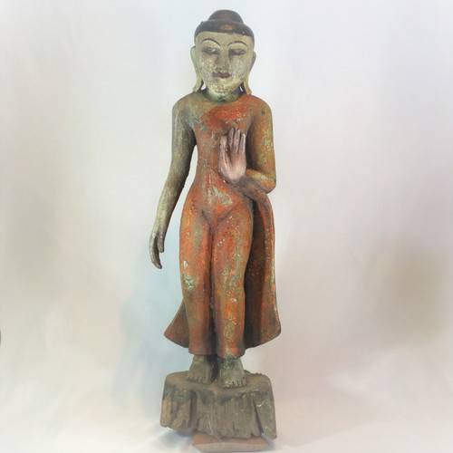 Burmese Standing Buddha, Solid Tropical Hardwood, Circa, Early 2oth Century