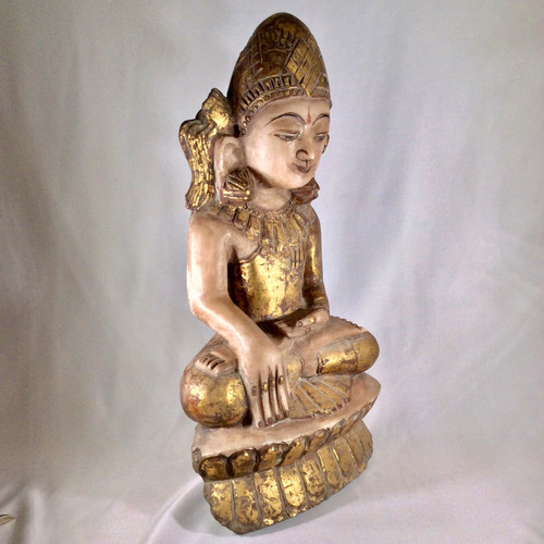 Shan Style Buddha Marble with Gold Leaf, Northern Burma (Myanmar) Circa Early 20th Century