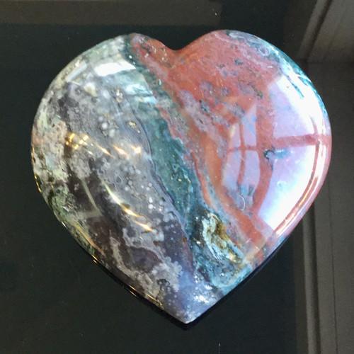 Ocean Jasper Heart, Madagascar, 398 grams