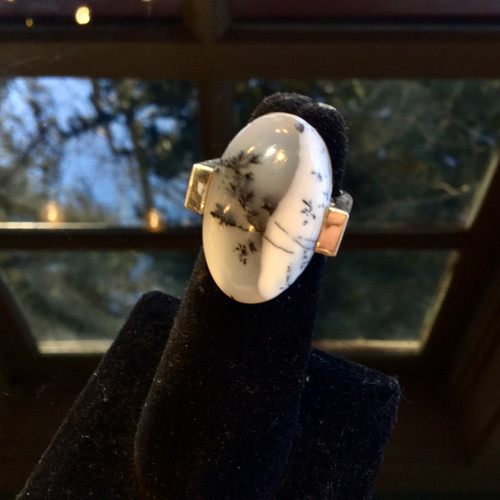 Dendritic Opal Ring, Size 6.25, 59 ct