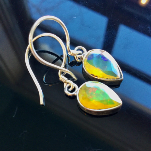 Faceted Wilo Opal Earrings 5.5ct( total 11ct.)/Silver
