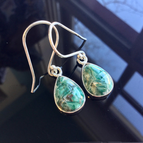 Seraphinite Earrings, 25.50 ct