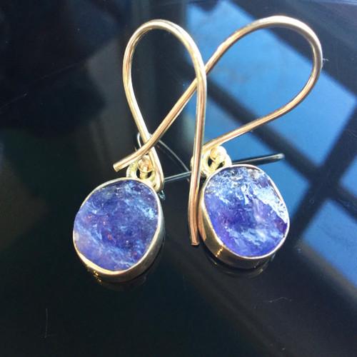 Rough Tanzanite Earrings, 27 ct
