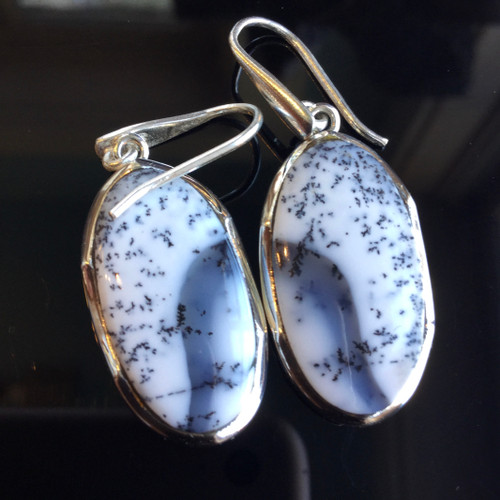 Dendritic Opal, Madagascar, Earrings, 40 ct