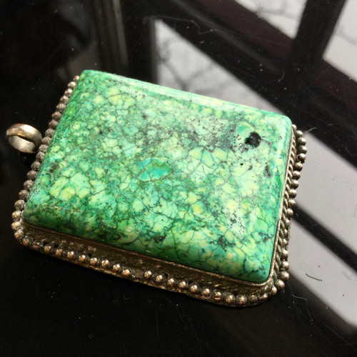 Antique Green Turquoise Pendent, Coin Silver, 29.4 grams