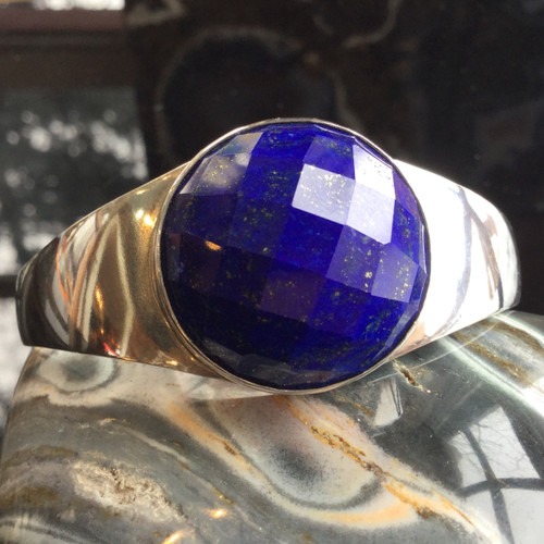 Faceted Afghanistan AA Lapis Bracelet In Handcrafted Sterling Silver, 40.7 grams