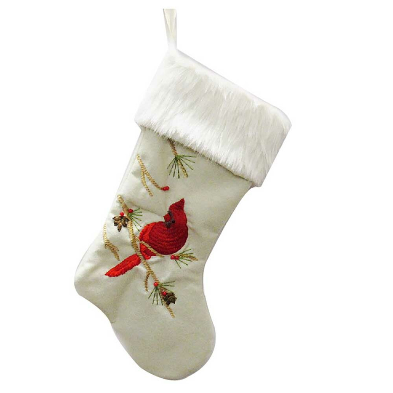 Kurt Adler White Stocking With Cardinal 53cm Christmas Elves Store