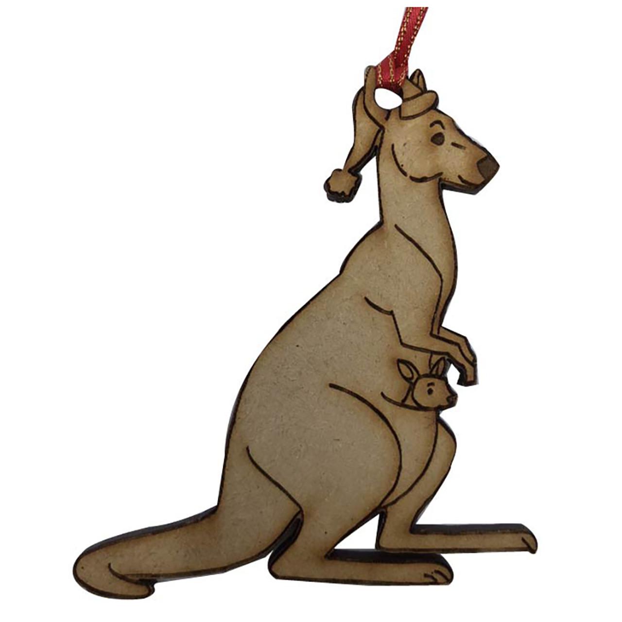 Christmas Kangaroo Cartoon.Laser Cut Christmas Kangaroo Hanging Decoration