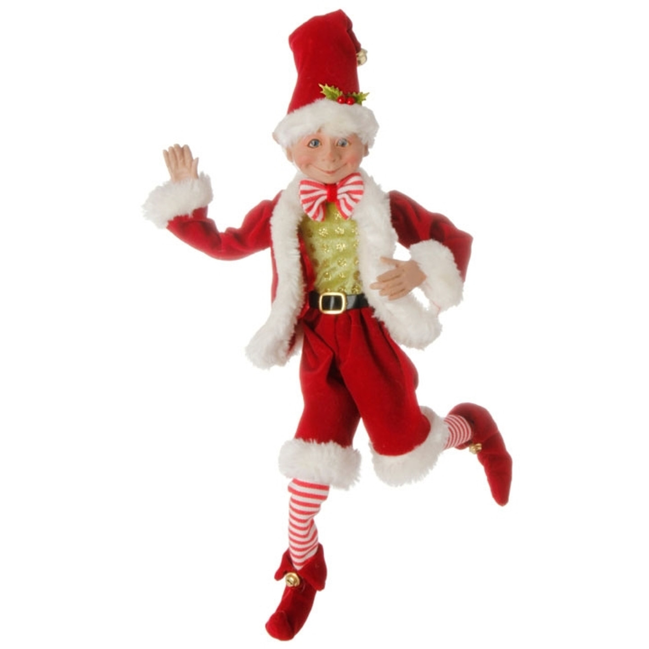 Christmas Elf.Red White Christmas Elf With Bowtie 40cm