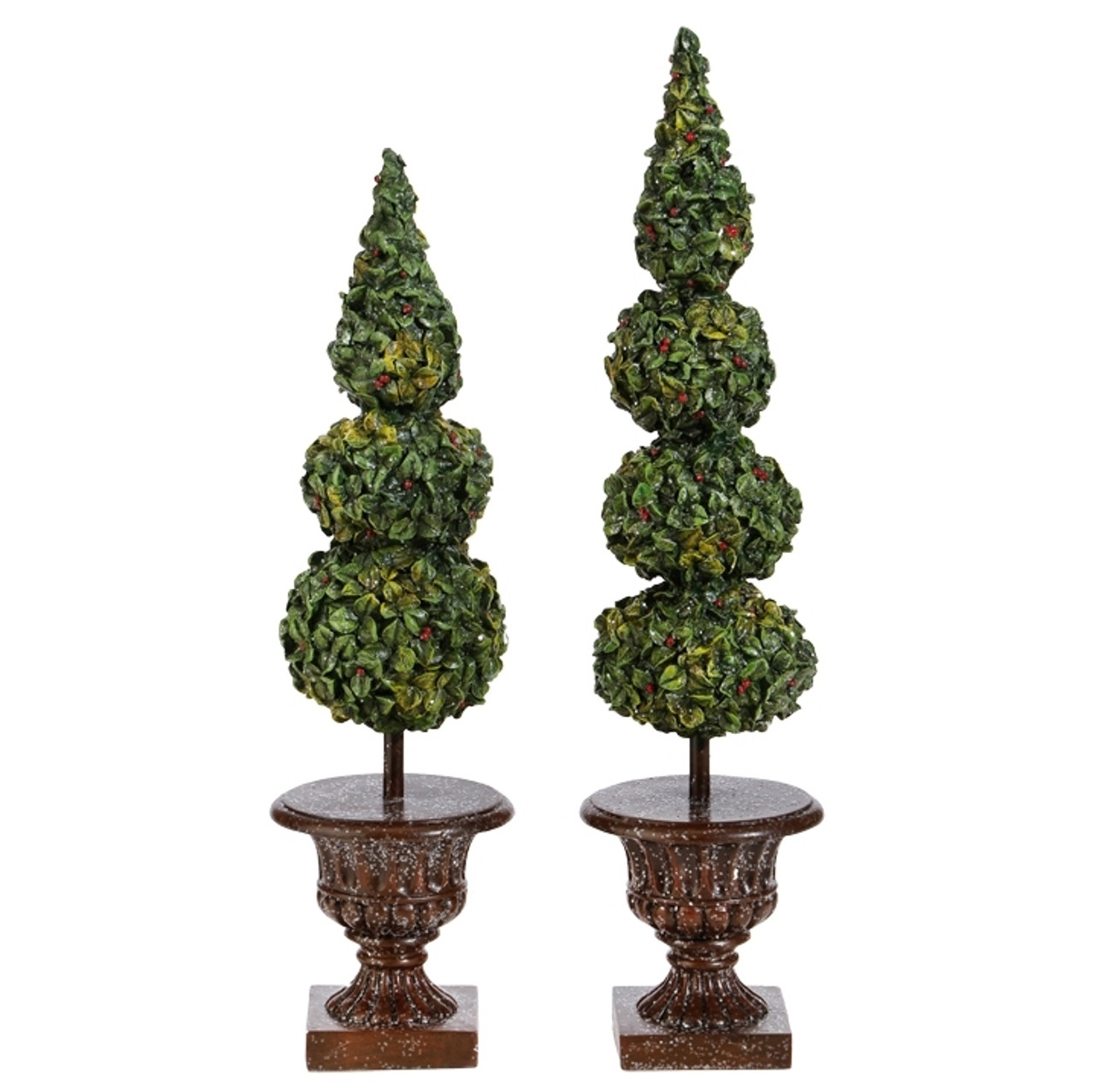 Christmas Topiary.Christmas Topiary Trees In Pot Set Of 2 46cm