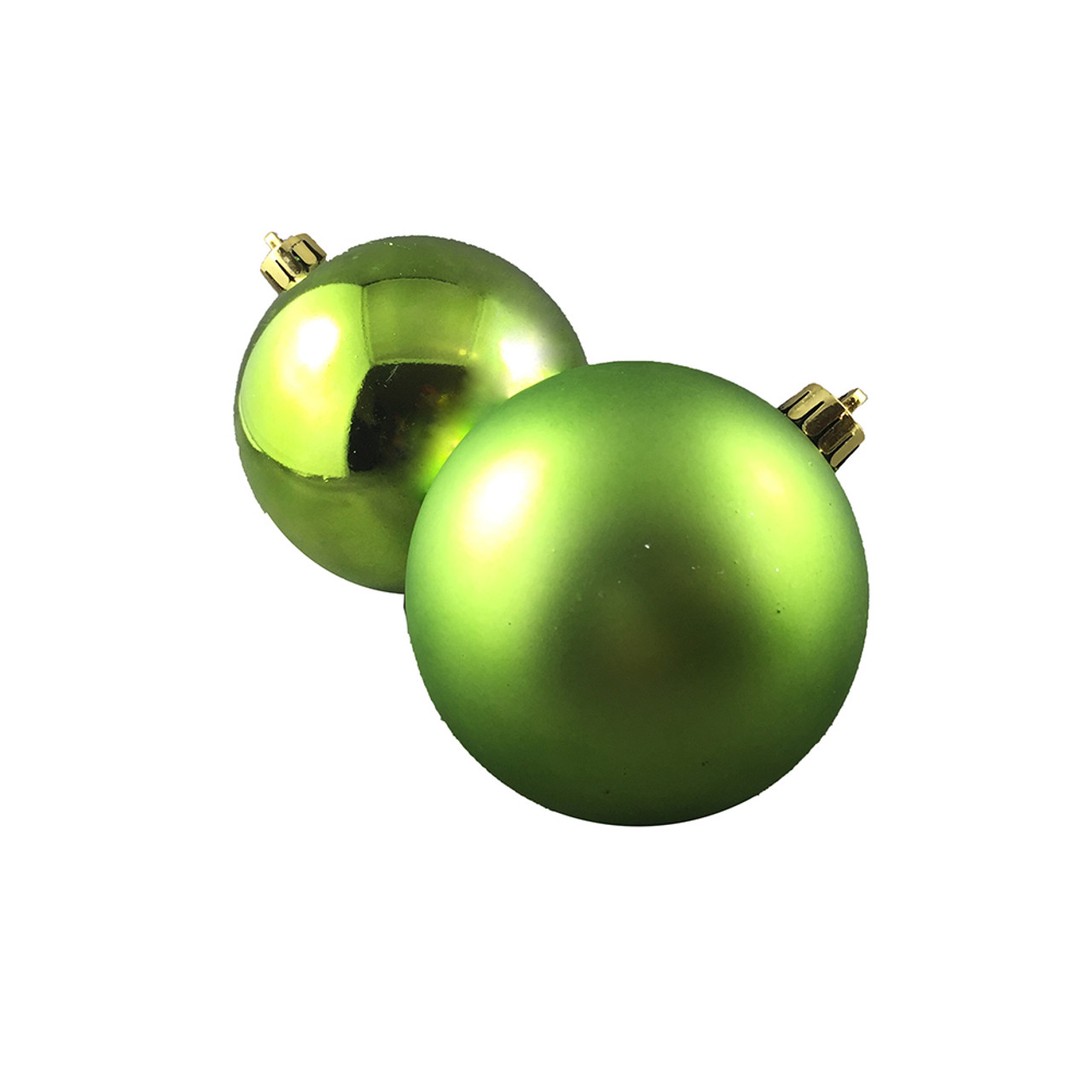 Christmas Baubles.Shiny Matte Lime Green Baubles Pack Of 12 80mm