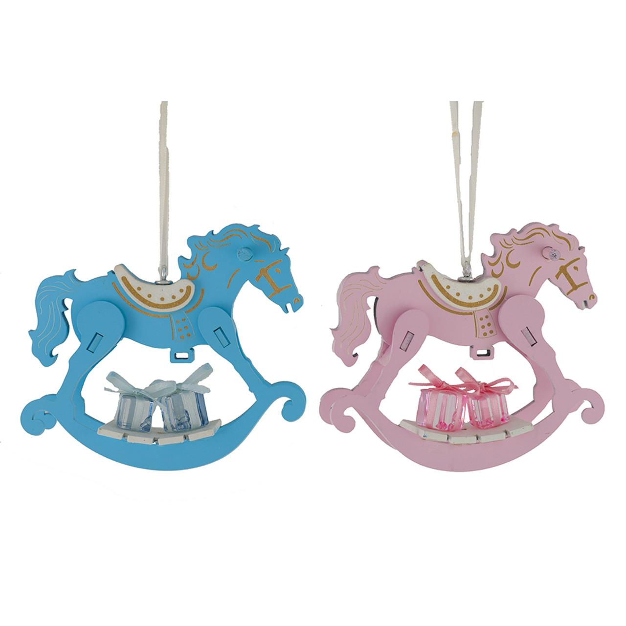 Blue Or Pink Rocking Horse Ornament 13cm Christmas Elves Store