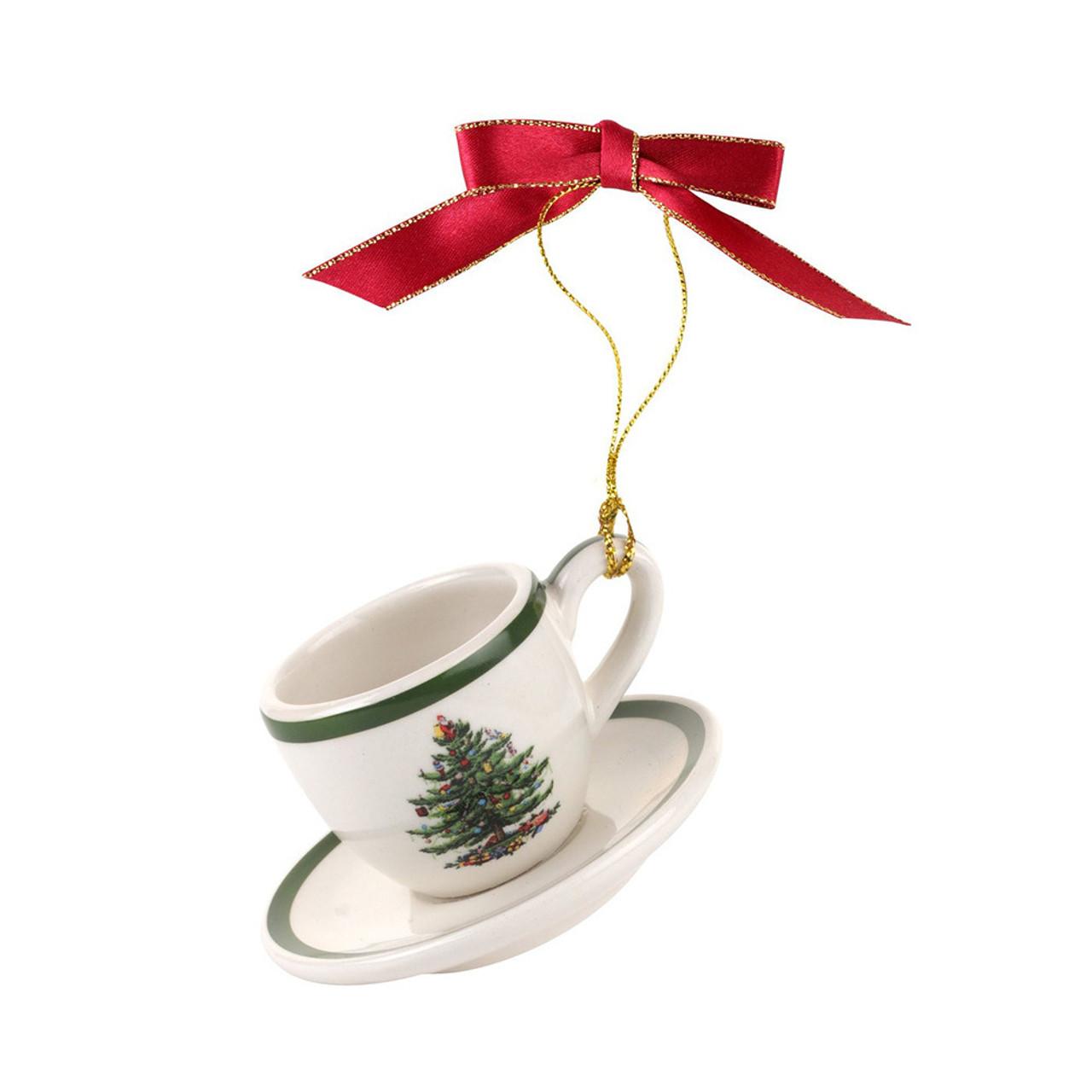 Spode Christmas Tree.Spode Christmas Tree Cup Saucer Ornament 7cm