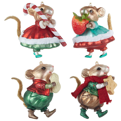 Christmas Mouse.Christmas Mouse Glass Ornament 4 Designs 10cm