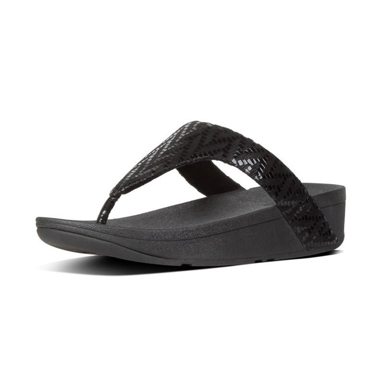 """FitFlop""""¢ Lottie Chevron Toe-Thongs Black : BeautyFeatures ie"""